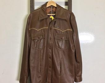Vintage 70's faux leather snap button youngbloods western bib jacket size L