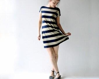 Striped dress, Tunic dress, Jersey tunic, Navy blue, Short dress, Boat neck dress, Tshirt dress, Womens dress, Womens clothing, A-line dress
