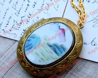 Sale -Oval Locket Pendant Porcelain China FengShui Shard Cabochon Necklace Raw Brass