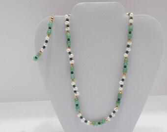 Vintage Jade & Freshwater Pearl Demi Parure (4460) Necklace And Bracelet