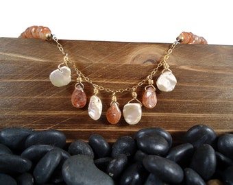 Sunstone and Freshwater Pearl Necklace