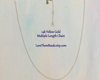14k Gold Cable Chain Necklace Simple Light Weight Layer Chain w Extender and Teardrop Lobster Clasp, Length Made to Order by LoveThemBeads