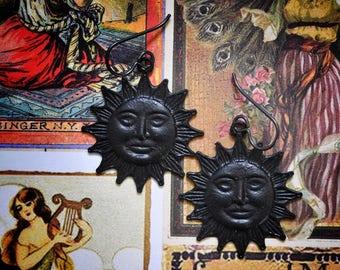 Black Sun Earrings, Matte Black Earrings, Hypoallergenic, Niobium Earrings, Black Brass, Gift for Her, Gothic Noir,