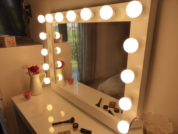 Hollywood lighted vanity mirror large makeup mirror with hollywood lighted vanity mirror large makeup mirror with lights wall hangingfree standing perfect for ikea malm vanity bulbs not included aloadofball Images