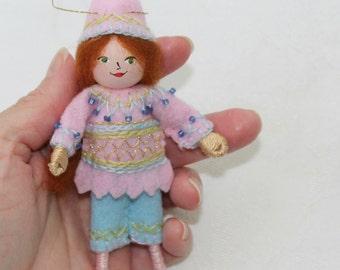 Handmade Felt Doll Hanging Ornament Pastel Colors Pixie Felt Doll Art