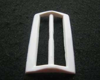 7 piece belt buckles without mandrel, white rectangle approx. 58/34 mm, bridge approx. 50 mm, new, plastic