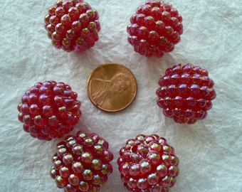 20mm Vintage Raspberry Beads Red (6) NOS