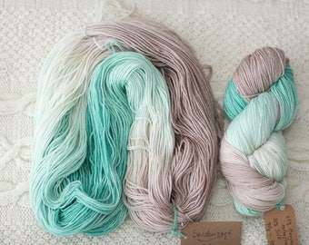 Hand Dyed Superwash Merino Wool Silk yarn 100g  Hand dyed super soft Merino Yarn merino extrafine superwash