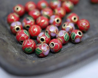 Chinese Cloisonne Beads 6mm Red Cloisonne Bead Enamel Beads Metal Beads (8 beads) CL05
