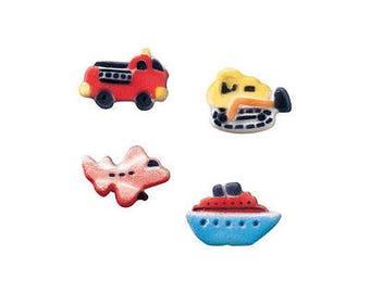 24 Vehicles Assortment Molded Sugar Cake / Cupcake Topper Decorations car boat plane bulldozer dozer airplane