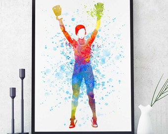 Boxing Poster, Boxing Gloves,  Sports Decor, Watercolor Print, Home Wall Art Decor, Boxing Girl