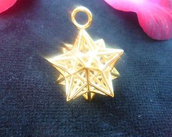 Solar Spirit Star *3D Sacred Geometry Jewelry Gold-pl *stellated Dodecahedron 12 Pentagram Pendant *Phi Fractal Harmony golden ratio Mandala