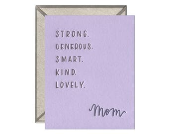 Mom Attributes Mother's Day letterpress card