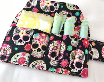 Privacy Pouch Tampon Case Sanitary Pad Case - Pad Pouch Tampon Bag Tampon Cozy - Tampon Holder Sugar Skulls Black