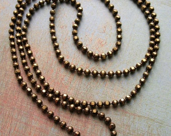 24 inch Antiqued Brass Ball Chain Necklace