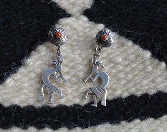 Hopi  Style Flute Dancer Earrings in Sterling Silver and Coral