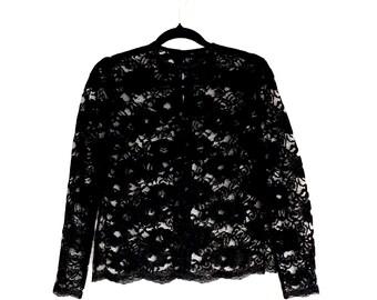Gothic Black Lace Vintage Blouse ~ Medium AU 12 US 10 ~ Lolita Bohemian Grunge Festival Vampire