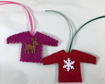 Ugly Christmas Sweater Ornaments Set Of 2