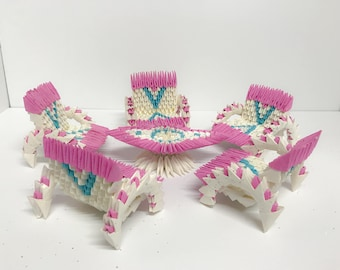 Pink Chairs & Table Set - 3D Origami Chairs and Table - 3D Origami - Paper Origami - Swans Origami - Paper Swan