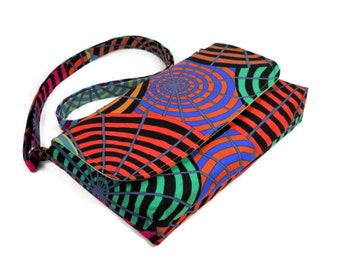 Small Multi Color Purse, Mini Crossbody Bag, Concentric Circles Fabric Purse, Cotton Handbag, Small Messenger Bag, Adjustable Strap