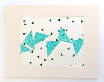 linocut - TRIANGLES // 11x14 art print // linocut printmaking // turquoise // blue green // geometric // original art // wall art