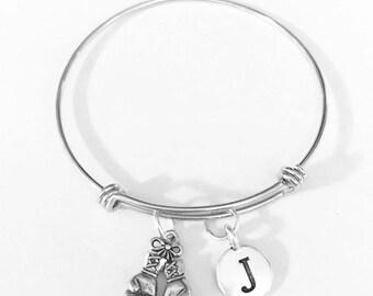 Gift For Her, Boxing Gloves Initial Bangle Bracelet, Warrior Bracelet Gift, Mother's Day Gift, Sports Gift, Sister Mother Best Friend Gift