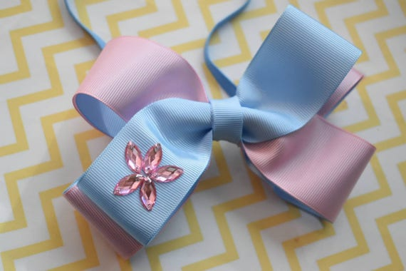 Baby Pink and Blue Grosgrain Ribbon Bow with diamante - Baby / Toddler / Girls / Kids Headband / Hairband / Hair bow / Barette / Hairclip