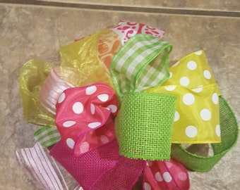Summer Project Bow-over the top bow project accent bow ribbon bow loopy bow floral decor door hanger summer bow door hanger home decor craft