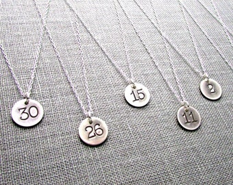 Silver Number Necklace | Jersey Number Silver Charm | Rustic Charm Necklace | Vintage Style Hand Stamped Jewelry by E. Ria Designs