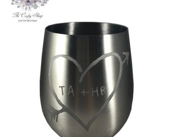 Etched Stainless Stemless Wine Glass - 18oz / Love
