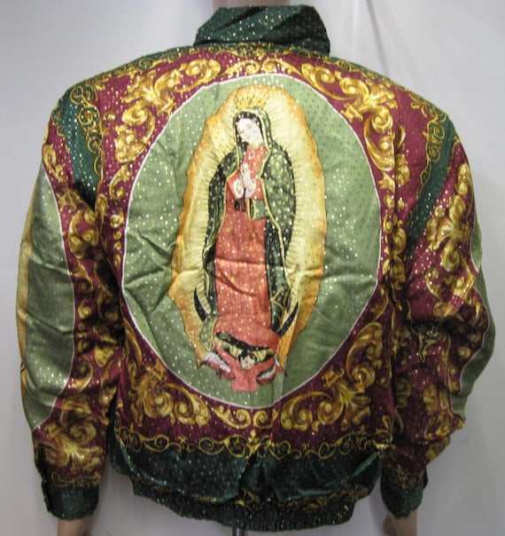 Vintage 90s Baroque Silk Bomber Jacket Style Our Lady of GUADALUPE Virgin Maria multicolored ,Gold,Blk,Oxblood, size large