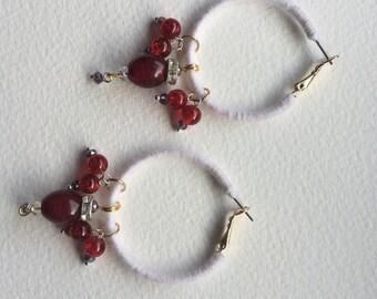 Red currant loop earrings