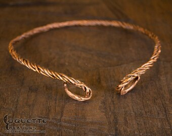 Hand Forged Aged Copper Neck Torc Celtic Viking Inspired