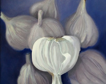 Garlic Painting - Kitchen Oil Painting Kitchen Wall Art Original Botanical Home Decor