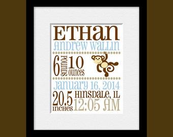 New Baby Birth Announcement, Birth Announcement Print, Nursery Wall Art, New Baby Nursery Birth Print, New Baby Gift, Grandparents Gift,