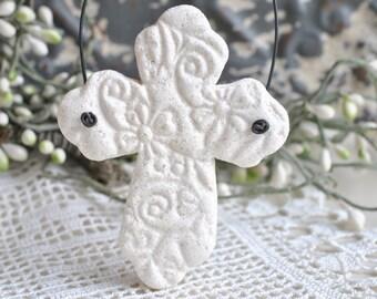 Baptism Favor Imprinted Salt Dough Cross Ornament