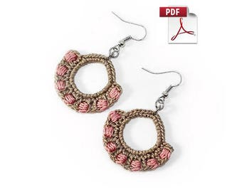 Crochet earrings pattern - Crochet pattern - crochet jewelry pattern - diy gift ideas - crochet earrings - instant download - PDF - Tutorial