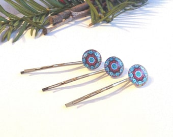 Hippie Bobby Pins, Boho Hair Pin Set, Glass Circles, Hair Accessories, Tie-Dye, Colorful, Round, Small Gifts, Blue