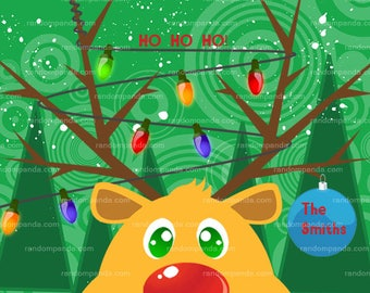 Reindeer Christmas Lights Xmas Card - Holiday Card