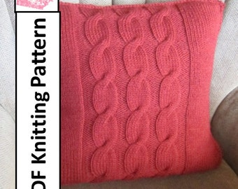 "PDF KNITTING PATTERN, knit pattern pdf, cable knit pattern, cable knit pillow cover pattern, 20""x20"", Cable pillow cover"