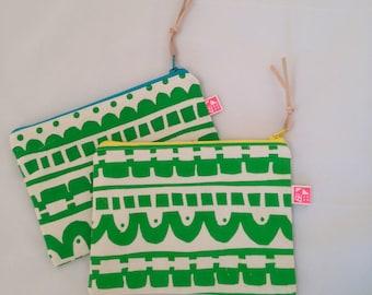Geometric pattern zip bag, handprinted on soft cotton canvas