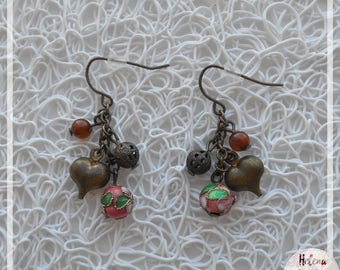Heart Earrings, Pearl, bronze grigri