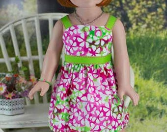 SUNDRESS Dress in Pink and Lime Green with Belt JEWELRY and SANDALS Option for American Girl or 18 inch Doll