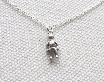 Silver Astronaut Necklace Tiny Charm Minimal Jewelry Sterling Silver Chain  Delicate Everyday Spaceman
