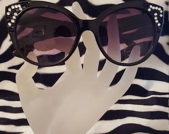 Sparkling on Trend Semi Cats Eye Sunglasses adorned with Swarovski crystals - Black Zebra