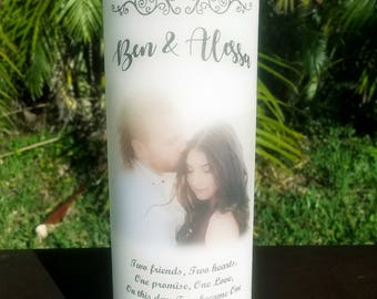 Personalized Wedding Candle Two Hearts II