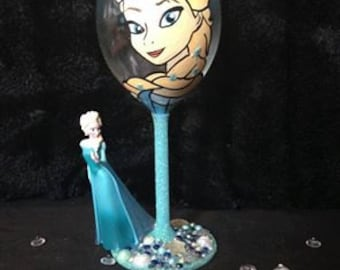 Elsa Hand painted and figure wine glass
