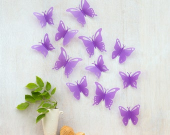 Butterfly Wall Decor, SALE, Girl's Room Decor, Nursery Wall Art, Pop-up Purple Butterflies, Baby Room Decor, 3D Wall Art, Set of 12