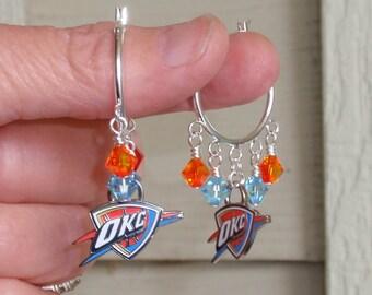 Oklahoma City Thunder Earrings, OKC Thunder Jewelry, Aqua and Golden Orange Crystal Hoop Earrings, Pro Basketball Thunder Accessory