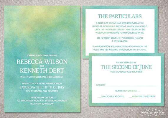 Ombre Wedding Invitation: Watercolor Ombre Rebecca Wedding Invitation Suite